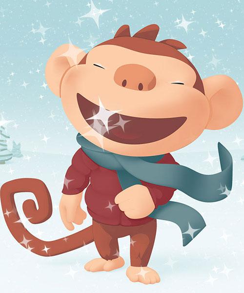 Шаблоны, открытки с обезьянами 2016 на муз тв